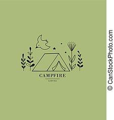 Hand drawn tent, camping logo, icon. Vector illustration