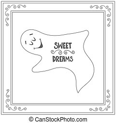 Hand drawn text sweet dreams with sleep ghost
