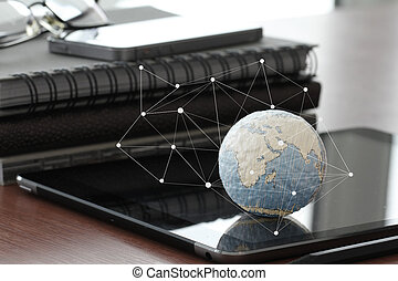 hand drawn texture globe with blank social media diagram on digi