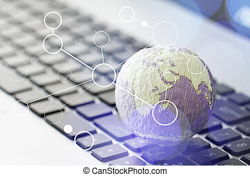 hand drawn texture globe with blank social media diagram on lapt