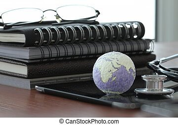 hand drawn texture globe with blank social media diagram on digital tablet computer as internet concept and bokeh exposure Elements of this image furnished by NASA