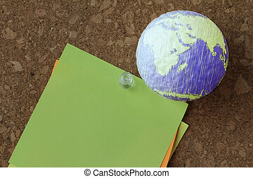 hand drawn texture globe with pin and business graph on sticky n