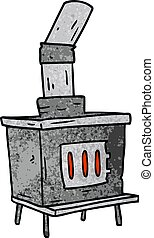 textured cartoon doodle of a house furnace - hand drawn...