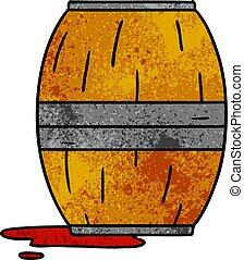 textured cartoon doodle of a wine barrel