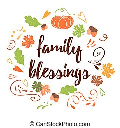 Hand drawn thanksgiving card with pumpkin maple leaves text Family Blessing