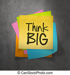 hand drawn Think BIG phrase on sticky note texture background as