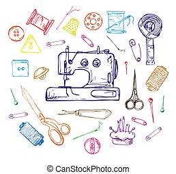 Hand drawn thread, needle, scissors, ball of yarn, knitting needles, crochet. Vector illustration in a sketch style.