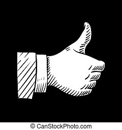 Hand drawn thumbs up vector element isolated on black