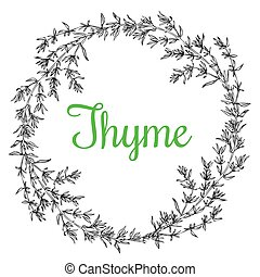 thyme plant wrench - Hand drawn thyme plant wrench with ...