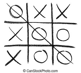 Hand-drawn tic-tac-toe game, isolated on white.