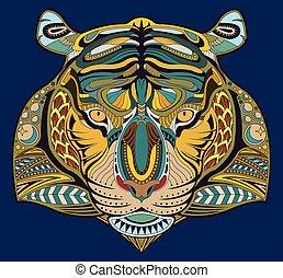 Hand drawn tiger coloring page vector EPS10
