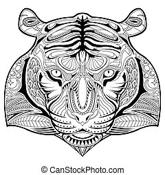 Hand drawn tiger face illustration coloring page