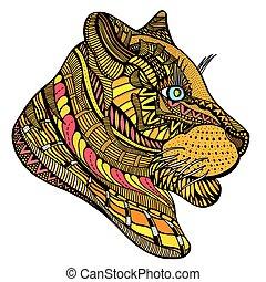 Hand drawn Tiger head.