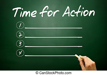 Hand drawn Time for Action blank list, business concept on black