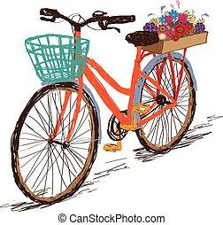 Hand drawn tintage bicycle