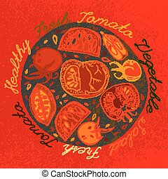 Hand drawn tomatoes