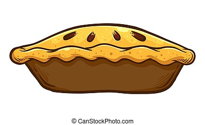 Hand Drawn Traditional Apple pie - Vector illustration of a...