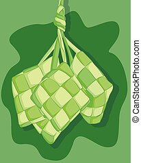 Hand drawn traditional ketupat. special dish served at Eid Mubarak or Ied Fitr celebration in Indonesia.