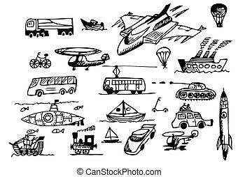hand drawn transportation icons