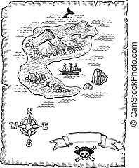 Hand-drawn Treasure Map Illustratio - A hand-drawn map of a...