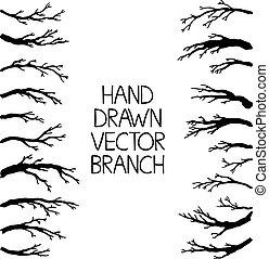 Hand drawn tree branches set, vector illustration.