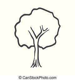 Hand drawn tree icon. Doodle. Vector illustration isolated on white background.