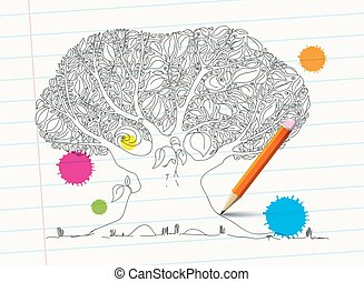 Hand Drawn Tree on Notebook Paper with Pencil and Colorful Stains