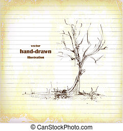 Hand Drawn Tree Sketch on Old Paper