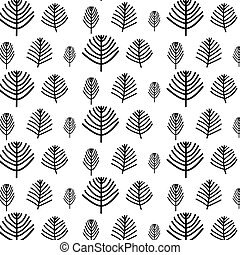 Hand Drawn Tree Vector Pattern.