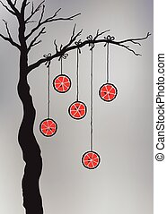 Hand drawn tree with hanging oranges.