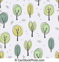 Hand-drawn trees seamless pattern in doodle style.