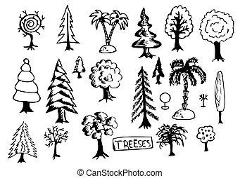 hand drawn treeses
