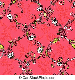 Hand drawn trellis floral seamless pattern
