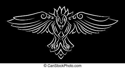 Hand drawn tribal tattoo with white raven