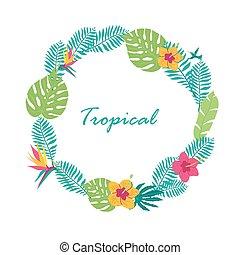 Hand drawn tropic wreath