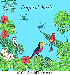 Hand drawn tropical birds