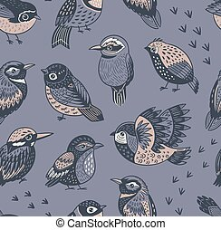 Hand drawn tropical birds pattern