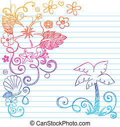 Hand Drawn Tropical Hibiscus Flowers, Shells, & Palm Tree Summer Beach Sketchy Notebook Doodles Vector Illustration on Lined Sketchbook Paper Background