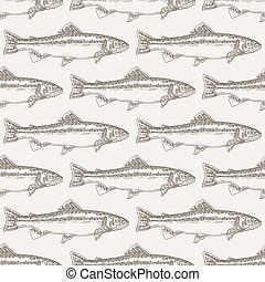 Hand drawn trout fish seamless background. Vector illustration seafood