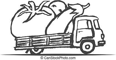 Hand Drawn Truck with Giant Vegetables. Vector