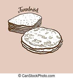 Hand-drawn Tunnbr?d bread illustration. Flatbread, usually ...