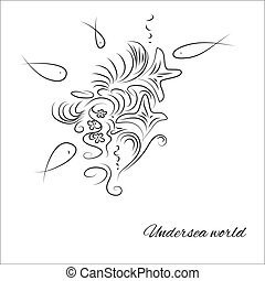 hand-drawn, twórczy, koral, fish, rafa