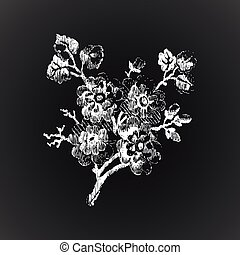 Hand drawn twig with flowers, vintage isolated on black backgrou