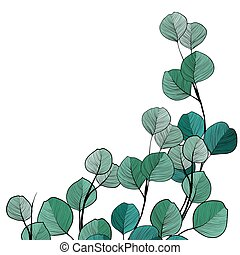 Hand drawn twig with green leaves
