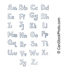 Hand drawn type font, vector illustration in cartoon style