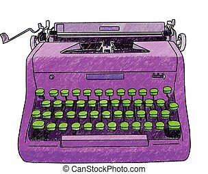 Hand Drawn Typewriter - Hand drawn illustration of a retro ...