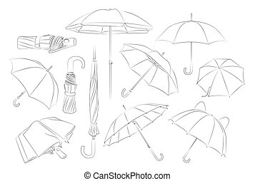 Hand drawn umbrellas set.