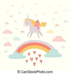 Hand drawn unicorn behind the rainbow with hearts rain. Cloudy background