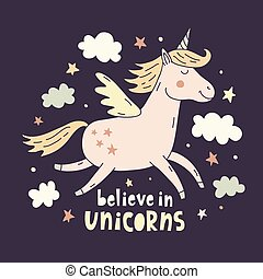 Hand drawn unicorn cute poster