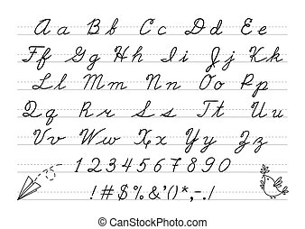 Hand drawn uppercase calligraphic alphabet and number....